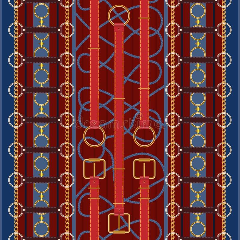 Άνευ ραφής σχέδιο με τις κόκκινες ζώνες, την αλυσίδα και την πλεξούδα Διανυσματικό μπάλωμα για το ύφασμα ελεύθερη απεικόνιση δικαιώματος
