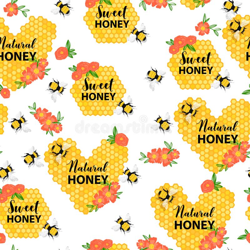 Άνευ ραφής σχέδιο με τις μέλισσες, την κηρήθρα, τα λουλούδια και το κείμενο Γλυκό και φυσικό μέλι διανυσματική απεικόνιση