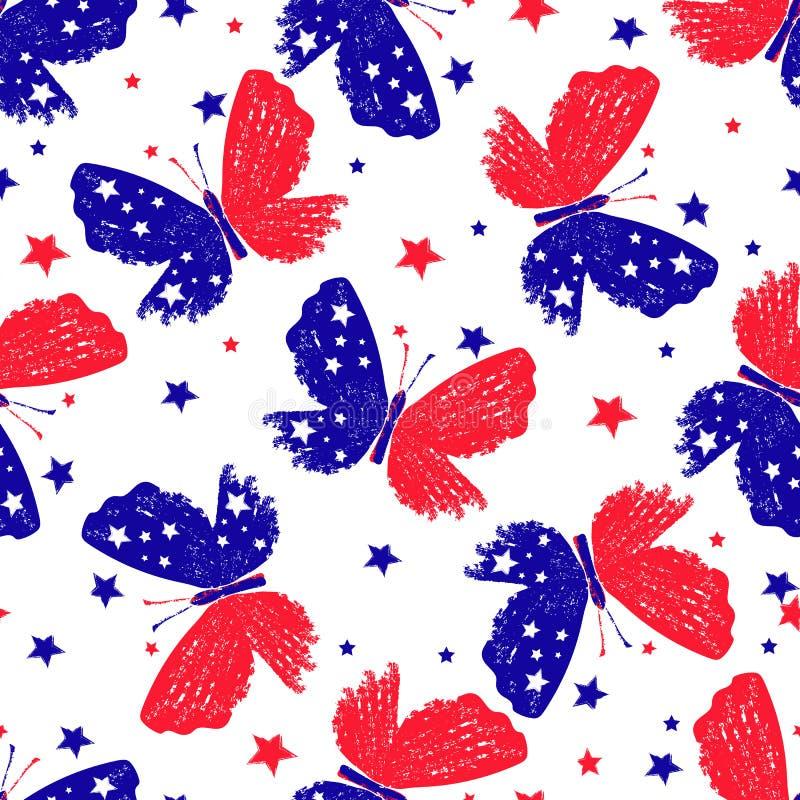 Άνευ ραφής σχέδιο με τις πεταλούδες κόκκινος-μπλε-λευκού tricolor grunge απεικόνιση αποθεμάτων