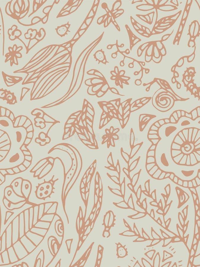 Άνευ ραφής σχέδιο με τις πεταλούδες, τους κανθάρους και τα λουλούδια Ελεύθερο σχέδιο, μπεζ, χρώμα κρητιδογραφιών διανυσματική απεικόνιση