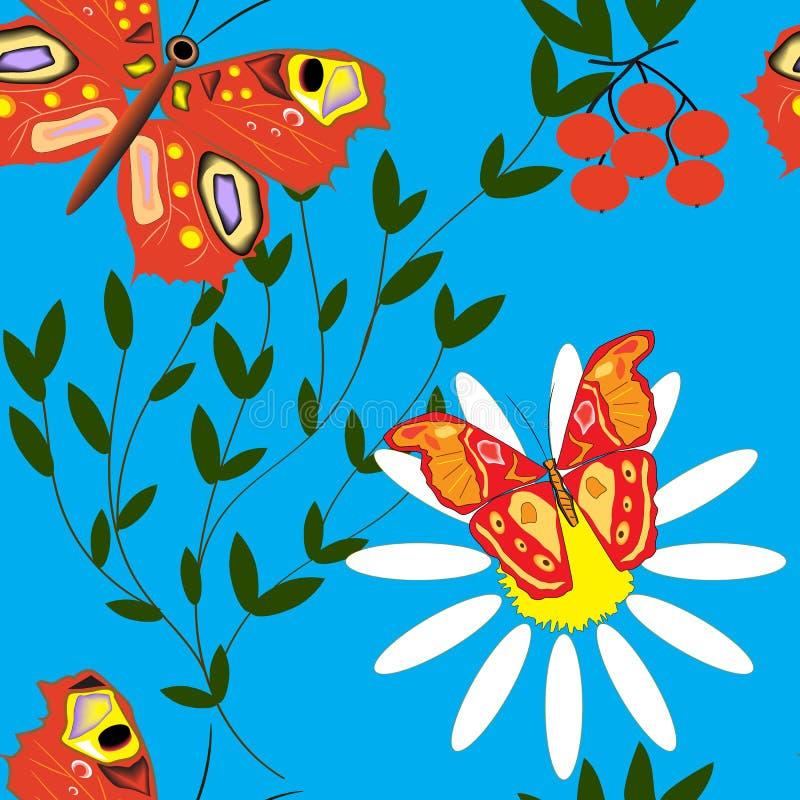 Άνευ ραφής σχέδιο με τις πεταλούδες, το μπλε ουρανό και τις μαργαρίτες ελεύθερη απεικόνιση δικαιώματος