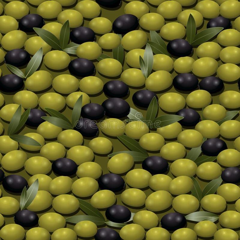 Άνευ ραφής σχέδιο με τις πράσινες ελιές διανυσματική απεικόνιση