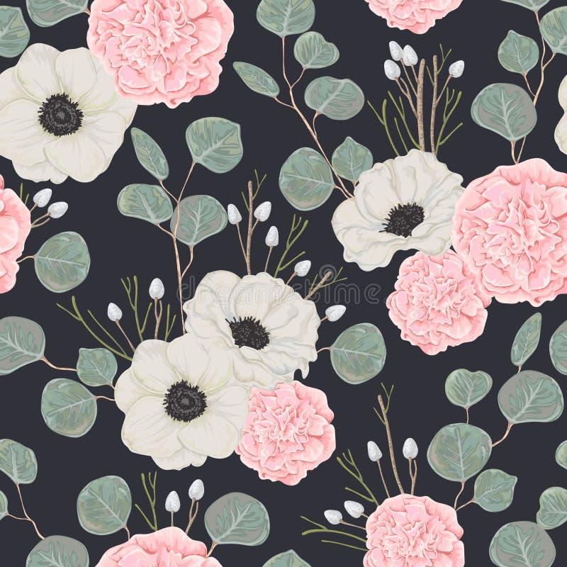 Άνευ ραφής σχέδιο με τις ρόδινες καμέλιες, τα άσπρους λουλούδια anemone και τον ευκάλυπτο διανυσματική απεικόνιση