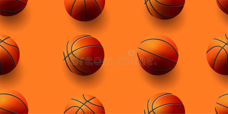 Άνευ ραφής σχέδιο με τις σφαίρες καλαθοσφαίρισης από τις διαφορετικές πλευρές : διανυσματική απεικόνιση