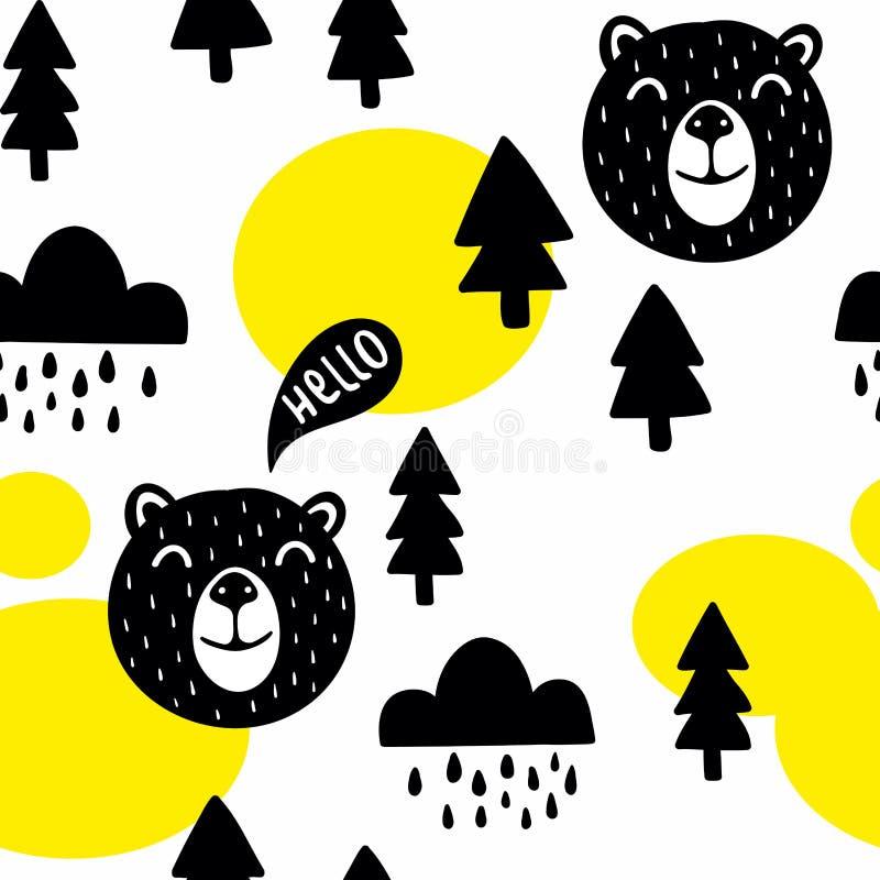 Άνευ ραφής σχέδιο με τις χαριτωμένα αρκούδες και τα δέντρα απεικόνιση αποθεμάτων