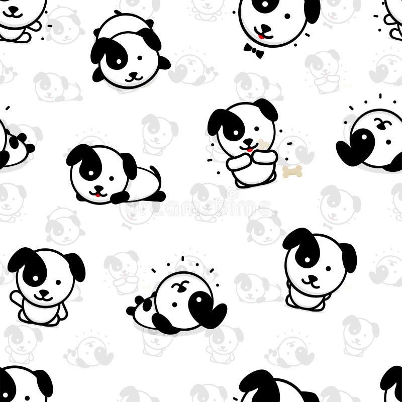 Άνευ ραφής σχέδιο με τις χαριτωμένες διανυσματικές απεικονίσεις σκυλιών κουταβιών, συλλογή των απλών στοιχείων σύστασης εγχώριων  απεικόνιση αποθεμάτων