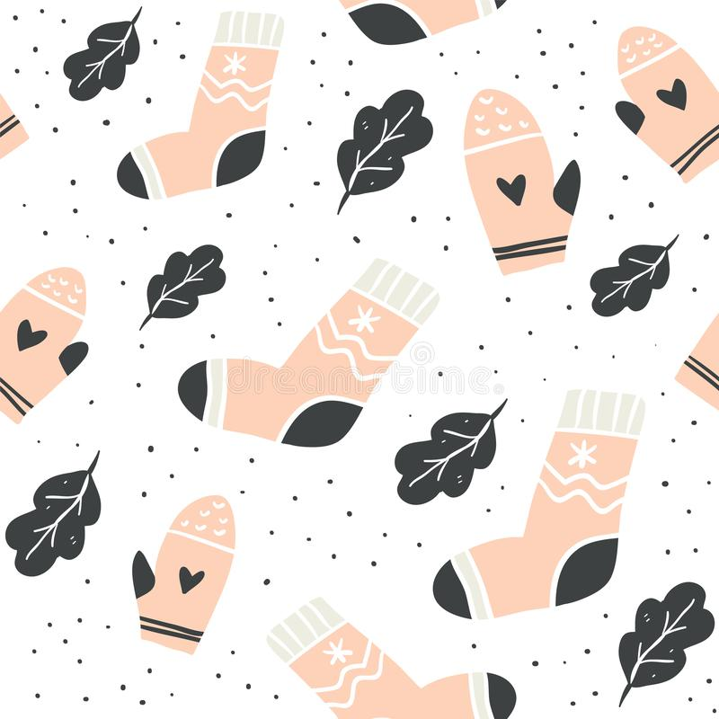 Άνευ ραφής σχέδιο με τις χαριτωμένες κάλτσες, γάντια, φύλλα διανυσματική απεικόνιση