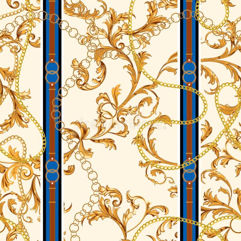 Άνευ ραφής σχέδιο με τις χρυσές αλυσίδες και τα μπαρόκ φύλλα Διανυσματικό μπάλωμα για τα μαντίλι, τυπωμένη ύλη, ύφασμα απεικόνιση αποθεμάτων