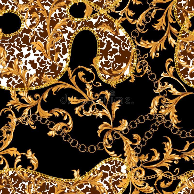 Άνευ ραφής σχέδιο με τις χρυσές αλυσίδες και τα μπαρόκ φύλλα Επισημασμένο διάνυσμα μπάλωμα για τα μαντίλι, τυπωμένη ύλη, ύφασμα ελεύθερη απεικόνιση δικαιώματος