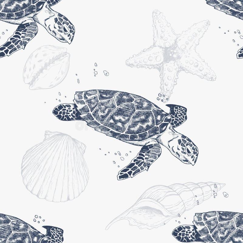 Άνευ ραφής σχέδιο με τις hand-drawn χελώνες background fiords ray sea sun γεωμετρικός παλαιός τρύγος εγγράφου διακοσμήσεων ανασκό διανυσματική απεικόνιση