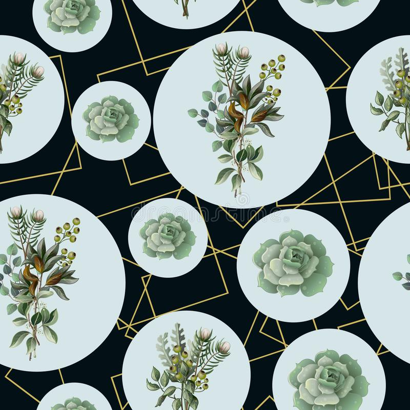 Άνευ ραφής σχέδιο με τον ευκάλυπτο, τα φύλλα magnolia, succulents και τα χρυσά πλαίσια Γεωμετρικό και βοτανικό διανυσματικό υπόβα ελεύθερη απεικόνιση δικαιώματος
