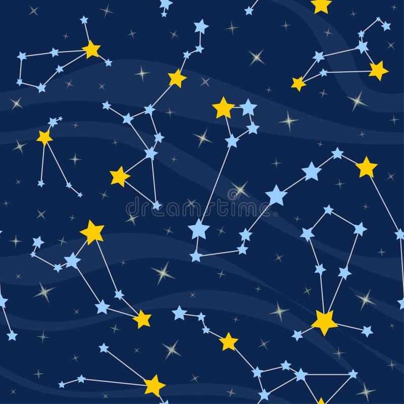 Άνευ ραφής σχέδιο με τους αστερισμούς διαστημικό διάνυσμα αστεριών απεικόνισης ανασκόπησης διανυσματική απεικόνιση