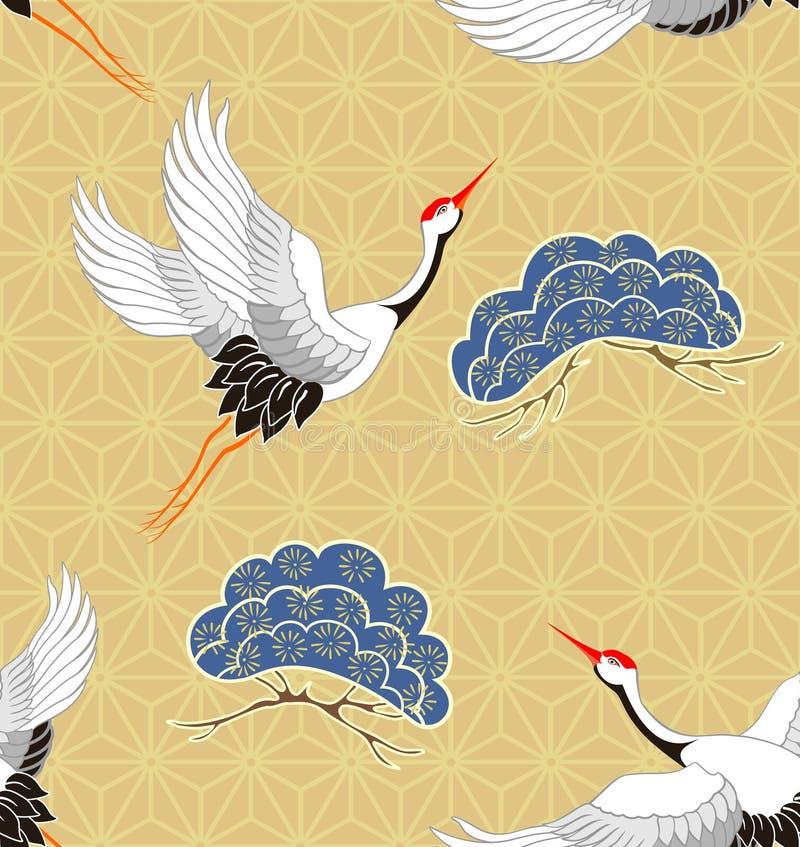 Άνευ ραφής σχέδιο με τους γερανούς Ιαπωνικό σχέδιο r διανυσματική απεικόνιση