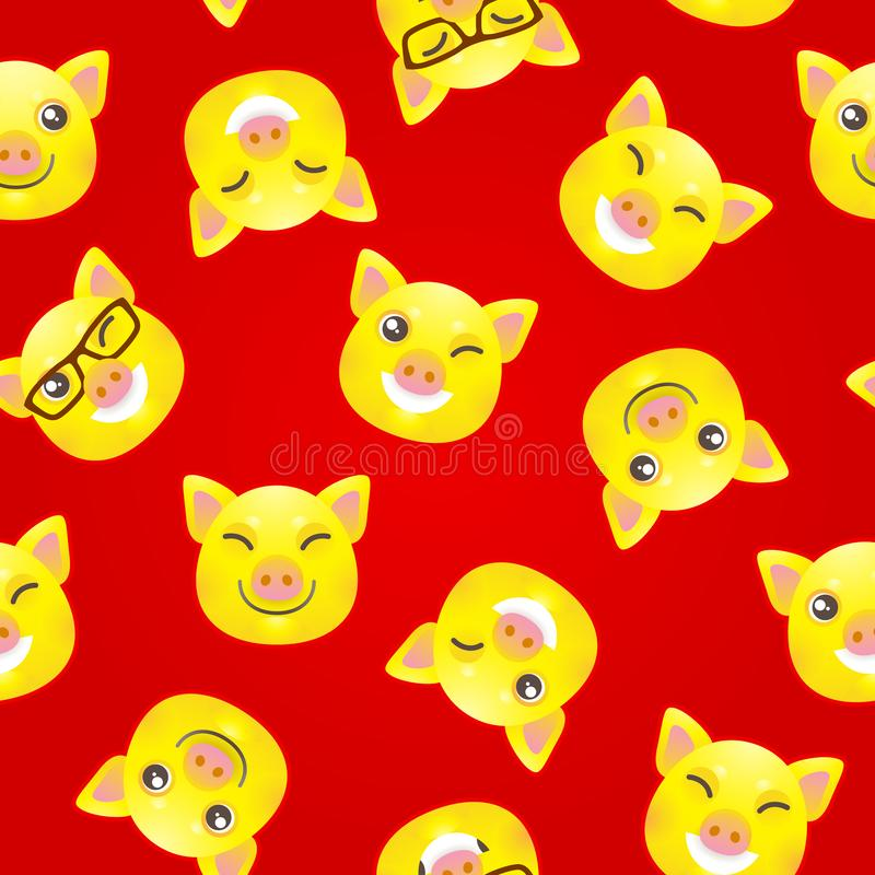 Άνευ ραφής σχέδιο με τους κίτρινους χοίρους, σύμβολο του 2019 διανυσματική απεικόνιση
