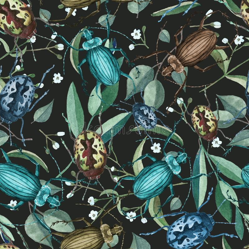 Άνευ ραφής σχέδιο με τους κανθάρους, τους κλάδους και τα λουλούδια watercolor στοκ εικόνα