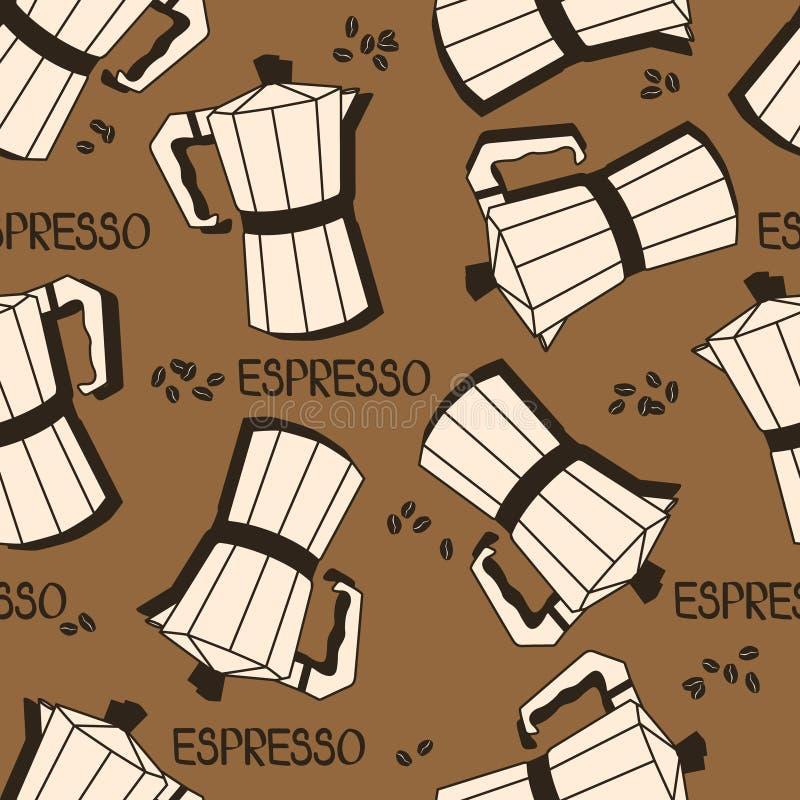 Άνευ ραφής σχέδιο με τους κατασκευαστές καφέ και τα φασόλια καφέ Διακοσμητικό υπόβαθρο, εξοπλισμός καφέ ελεύθερη απεικόνιση δικαιώματος