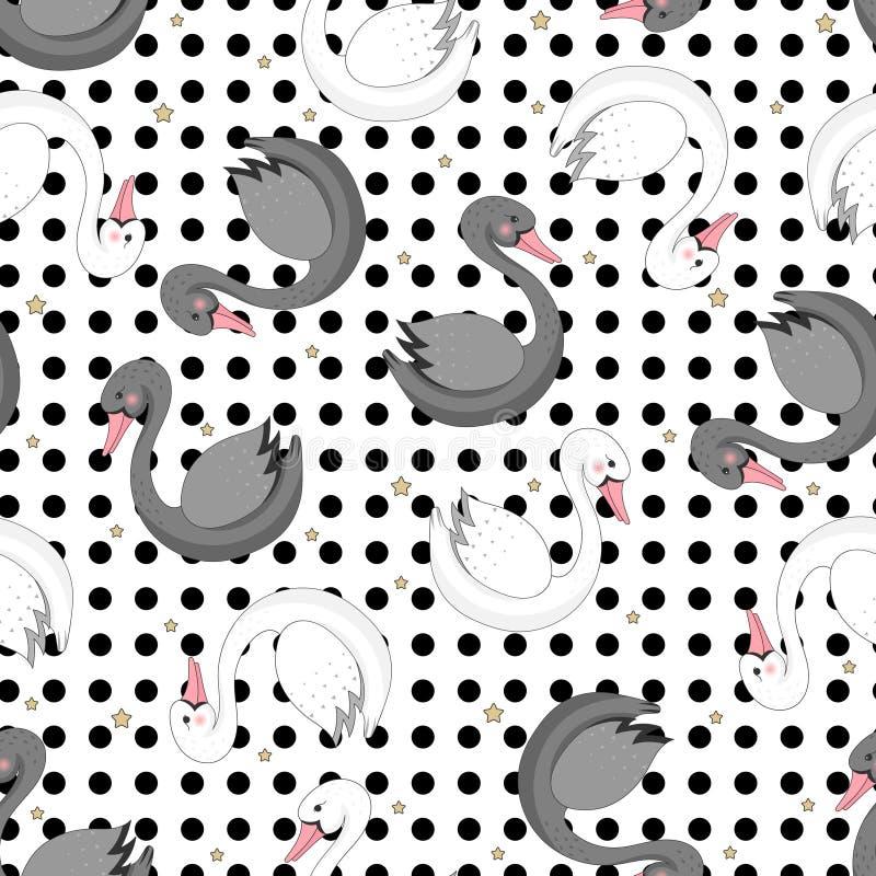 Άνευ ραφής σχέδιο με τους κύκνους κινούμενων σχεδίων διανυσματική απεικόνιση