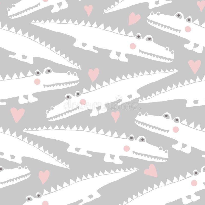 Άνευ ραφής σχέδιο με τους χαριτωμένους κροκοδείλους διανυσματική απεικόνιση