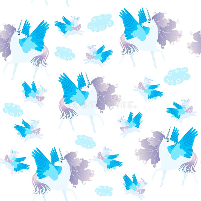 Άνευ ραφής σχέδιο με τους χαριτωμένους φτερωτούς μονοκέρους κινούμενων σχεδίων που απομονώνονται στο άσπρο υπόβαθρο διανυσματική απεικόνιση