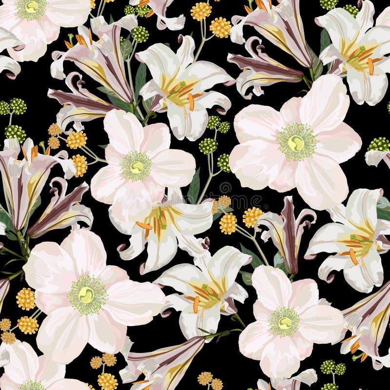 Άνευ ραφής σχέδιο με το άσπρο anemone, τα λουλούδια κρίνων και τα κίτρινα χορτάρια διανυσματική απεικόνιση