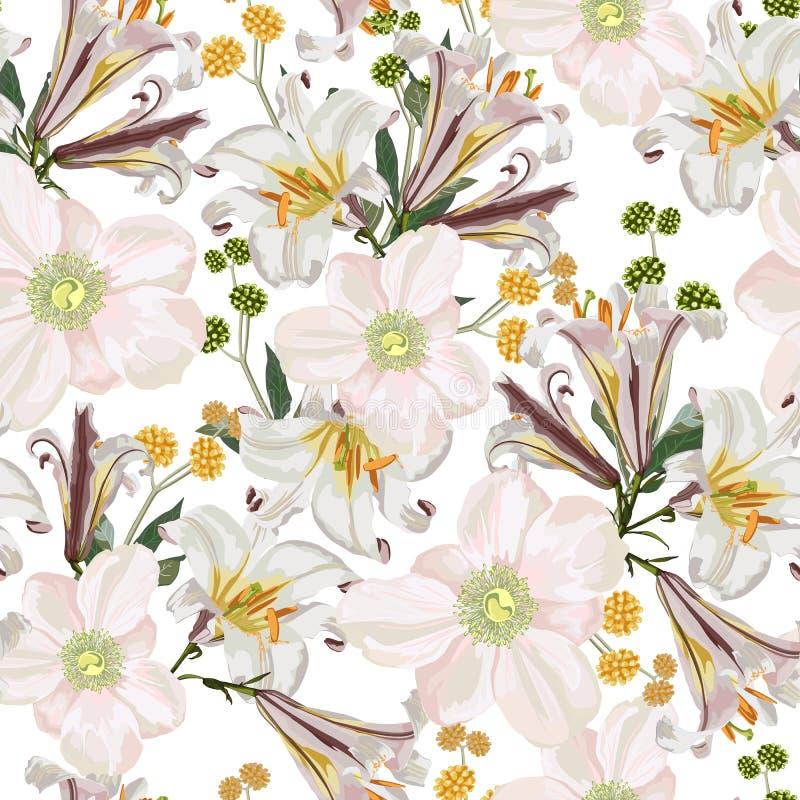 Άνευ ραφής σχέδιο με το άσπρο anemone, τα λουλούδια κρίνων και τα κίτρινα χορτάρια ελεύθερη απεικόνιση δικαιώματος
