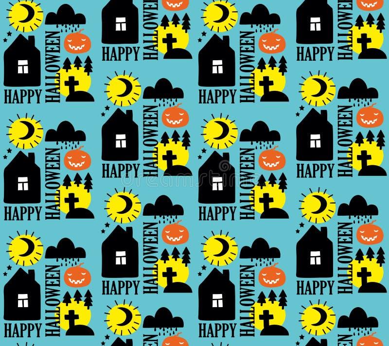Άνευ ραφής σχέδιο με το σχέδιο αποκριών Μαύρη και κίτρινη απεικόνιση στο μπλε υπόβαθρο ελεύθερη απεικόνιση δικαιώματος