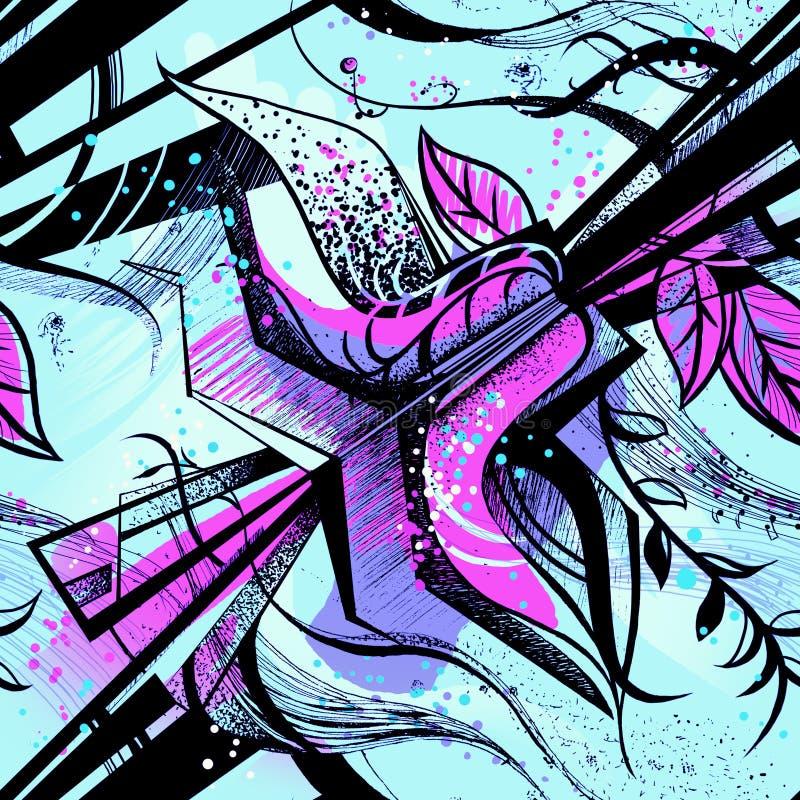 Άνευ ραφής σχέδιο με το αφηρημένο λουλούδι διανυσματική απεικόνιση