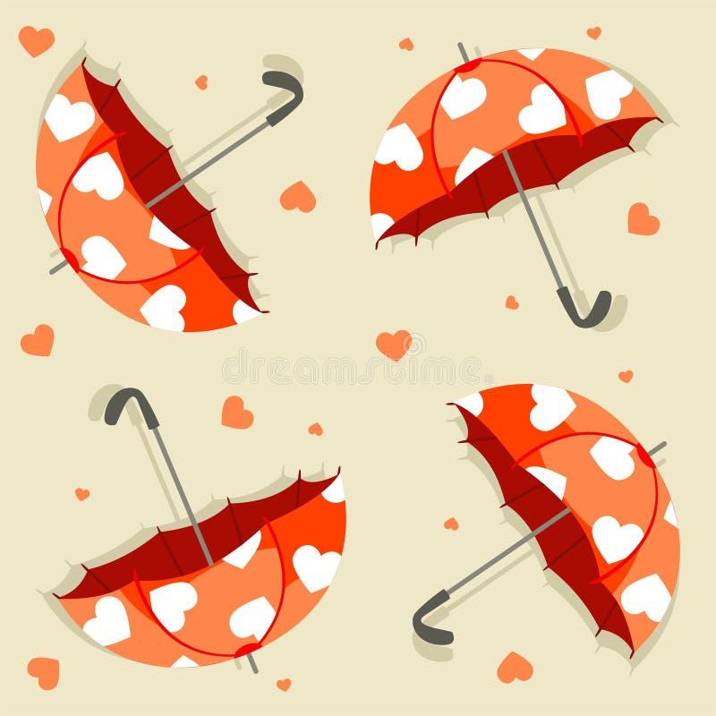 Άνευ ραφής σχέδιο με το διάνυσμα ομπρελών και καρδιών απεικόνιση αποθεμάτων