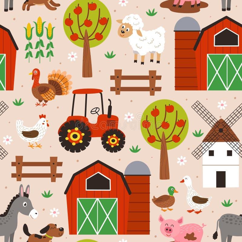 Άνευ ραφής σχέδιο με το ευτυχές ζωικό αγρόκτημα ελεύθερη απεικόνιση δικαιώματος