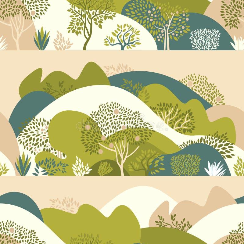 Άνευ ραφής σχέδιο με το λοφώδεις τοπίο, τα δέντρα, τους Μπους και τις εγκαταστάσεις Αυξανόμενες εγκαταστάσεις και κηπουρική στοκ φωτογραφία με δικαίωμα ελεύθερης χρήσης
