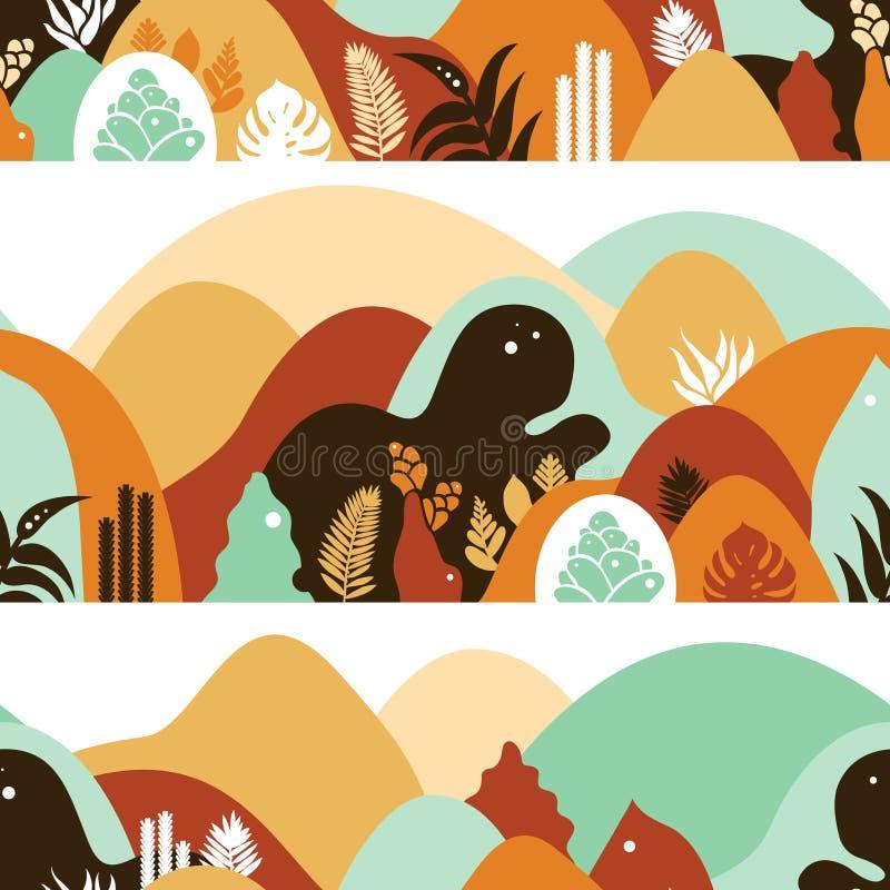 Άνευ ραφής σχέδιο με το λοφώδες τοπίο βουνών με τις τροπικά εγκαταστάσεις και τα δέντρα, φοίνικες t στοκ εικόνες με δικαίωμα ελεύθερης χρήσης