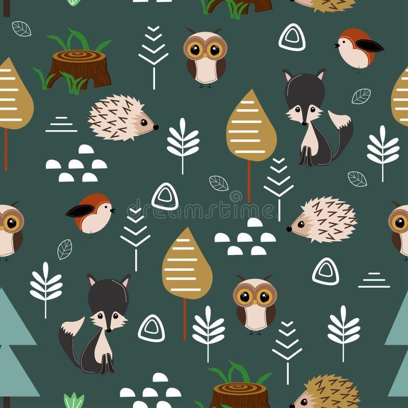 Άνευ ραφής σχέδιο με το λύκο και την κουκουβάγια στο δάσος - διανυσματική απεικόνιση, eps απεικόνιση αποθεμάτων