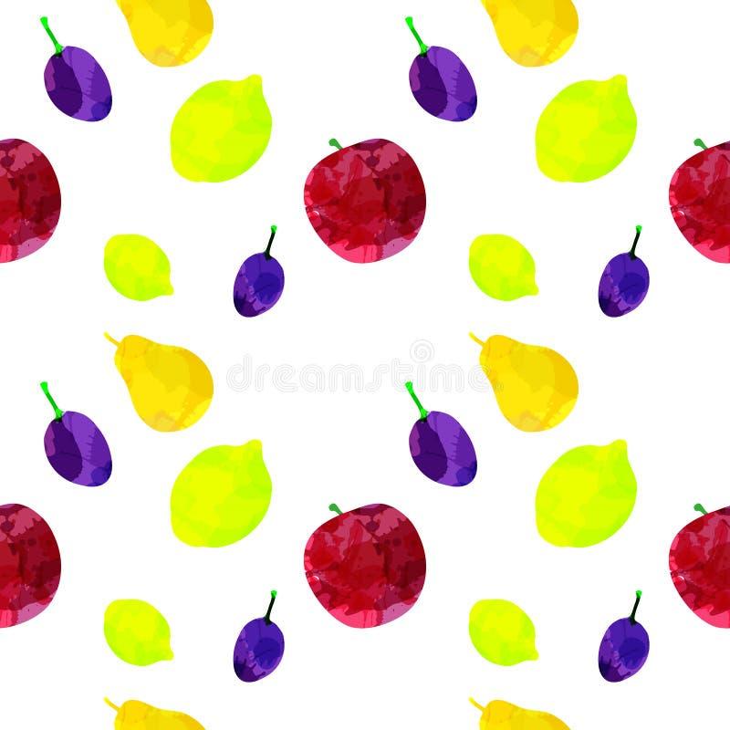 Άνευ ραφής σχέδιο με το μήλο, λεμόνι, αχλάδι, δαμάσκηνο με τους λεκέδες και τους λεκέδες σε ένα άσπρο υπόβαθρο Τέχνη Watercolor Ε ελεύθερη απεικόνιση δικαιώματος