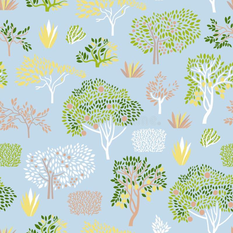 Άνευ ραφής σχέδιο με το μανταρίνι δέντρων εσπεριδοειδών, πορτοκάλι, λεμόνι, δασικές εγκαταστάσεις, ο Μπους E απεικόνιση αποθεμάτων
