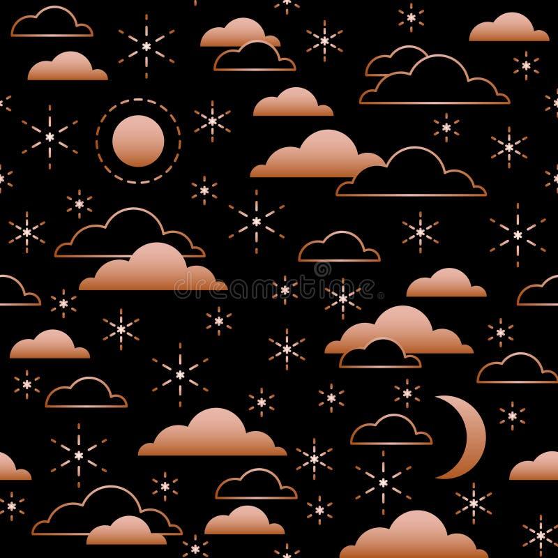 Άνευ ραφής σχέδιο με το νυχτερινό ουρανό Φεγγάρι, αστέρια και σύννεφα στο χρυσό χρώμα στο μαύρο υπόβαθρο r απεικόνιση αποθεμάτων