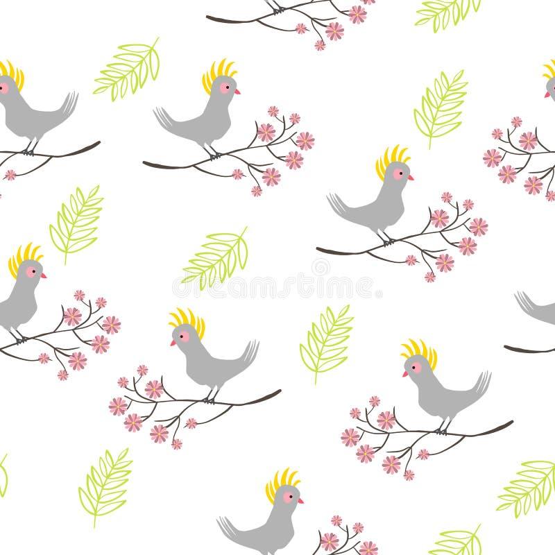 Άνευ ραφής σχέδιο με το πουλί παπαγάλων, κλάδος με τα λουλούδια απεικόνιση αποθεμάτων