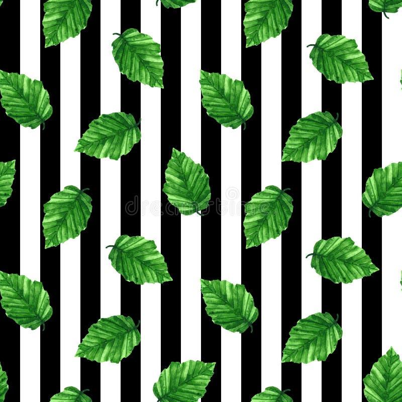 Άνευ ραφής σχέδιο με το πράσινο φρέσκο φύλλο ριγωτός Συρμένη χέρι απεικόνιση Watercolor ελεύθερη απεικόνιση δικαιώματος