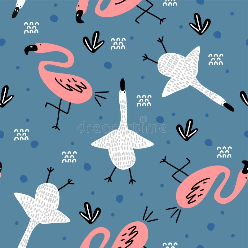 Άνευ ραφής σχέδιο με το ρόδινο χαριτωμένο σχέδιο φλαμίγκο και το αφηρημένο υπόβαθρο στοιχείων Διανυσματικό παιδαριώδες χέρι απεικ απεικόνιση αποθεμάτων
