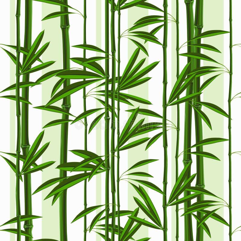 Άνευ ραφής σχέδιο με το τροπικά μπαμπού και τα φύλλα φυτών ελεύθερη απεικόνιση δικαιώματος