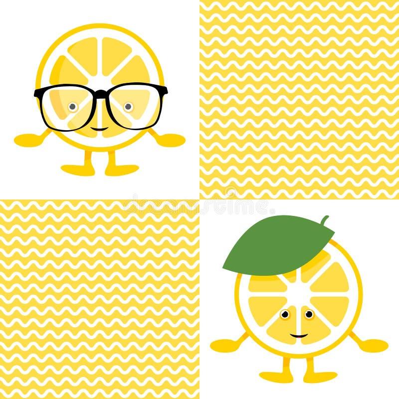 Άνευ ραφής σχέδιο με το χαριτωμένο χαρακτήρα χαμόγελου λεμονιών στα γυαλιά ελεύθερη απεικόνιση δικαιώματος