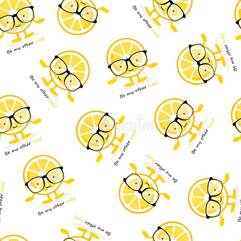 Άνευ ραφής σχέδιο με το χαριτωμένο χαρακτήρα χαμόγελου λεμονιών στα γυαλιά Κίτρινα φρούτα κινούμενων σχεδίων ελεύθερη απεικόνιση δικαιώματος