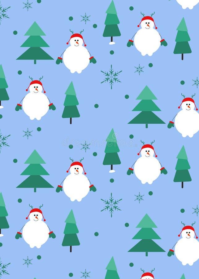Άνευ ραφής σχέδιο με το χιονάνθρωπο και το χριστουγεννιάτικο δέντρο, snowflake Τέχνη διακοπών διανυσματική απεικόνιση