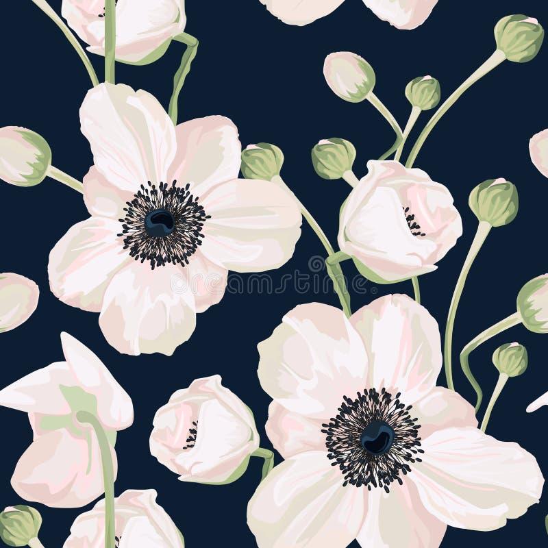 Άνευ ραφής σχέδιο με το anemone στο σκοτεινό υπόβαθρο απεικόνιση αποθεμάτων
