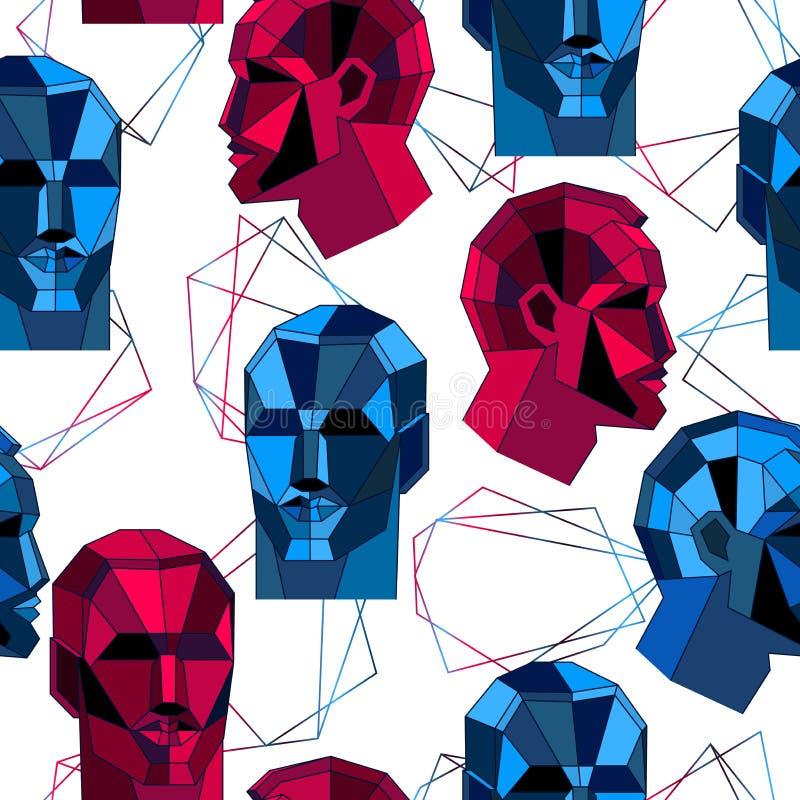 Άνευ ραφής σχέδιο με το polygonal ανθρώπινο πρόσωπο και τις μορφές Αφηρημένο φουτουριστικό σχέδιο έννοιας ελεύθερη απεικόνιση δικαιώματος