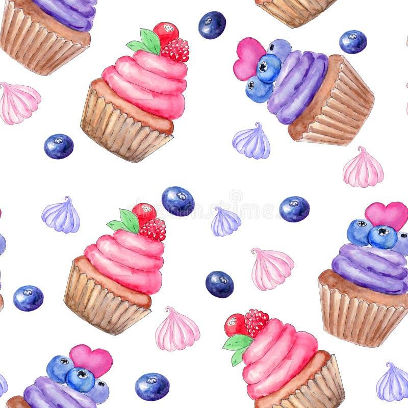 Άνευ ραφής σχέδιο με χρωματισμένο το χέρι γλυκό cupcake watercolor και marhmallow, μούρα Τυπωμένη ύλη, σχέδιο συσκευασίας, τύλιγμ ελεύθερη απεικόνιση δικαιώματος