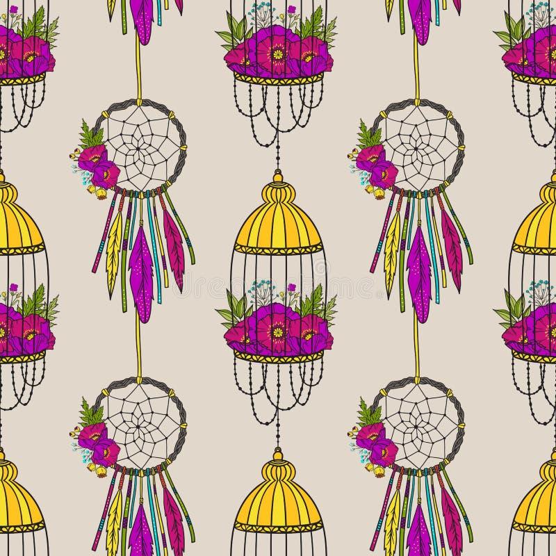 Άνευ ραφής σχέδιο με catcher ονείρου και το κλουβί πουλιών ελεύθερη απεικόνιση δικαιώματος