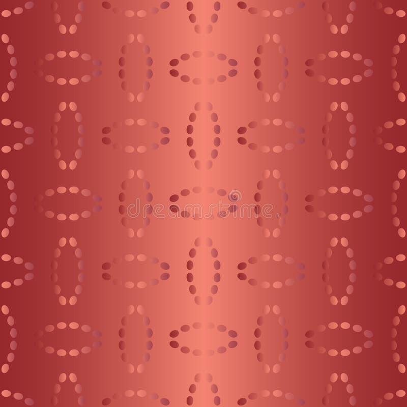Άνευ ραφής σχέδιο με ovals των διαστιγμένων γραμμών Μίμησης κεντητική μεταξιού Διανυσματικό υπόβαθρο στις σκιές του κοκκίνου απεικόνιση αποθεμάτων