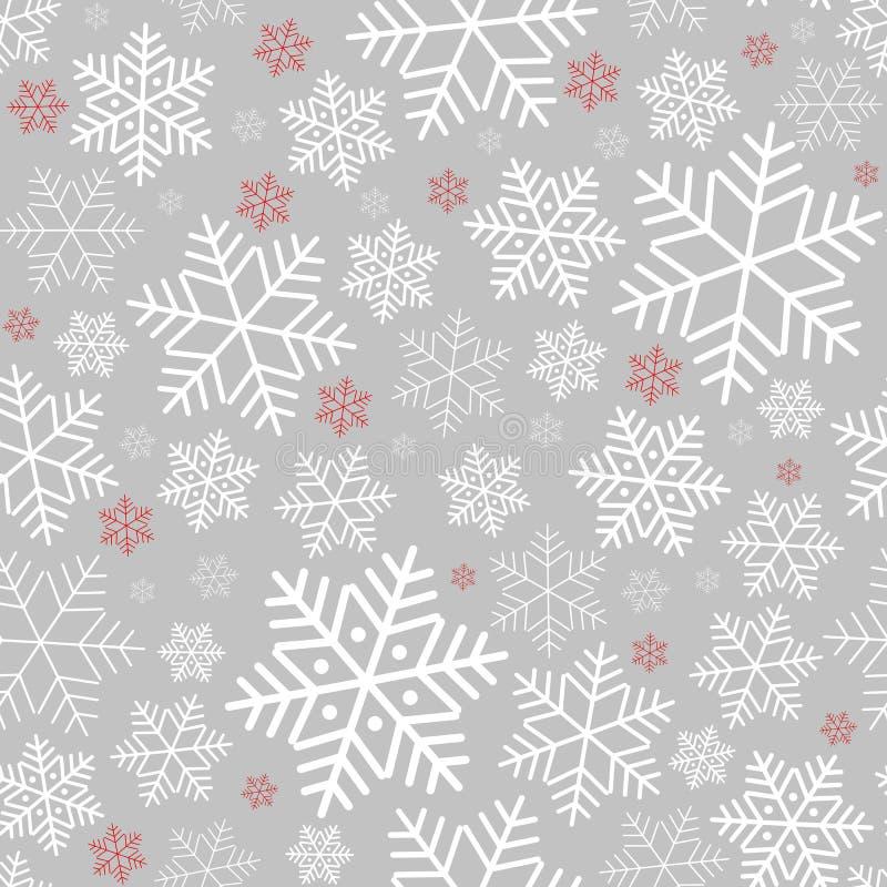Άνευ ραφής σχέδιο με snowflakes το χειμερινό υπόβαθρο στο νέο σχέδιο έτους και Χριστουγέννων για τις ευχετήριες κάρτες ελεύθερη απεικόνιση δικαιώματος