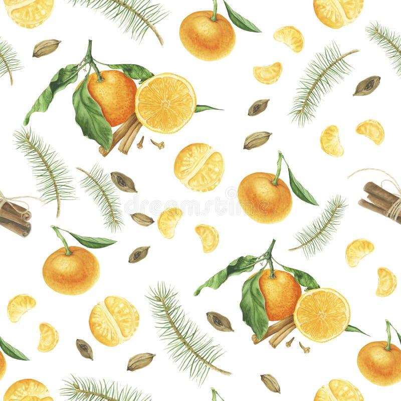 Άνευ ραφής σχέδιο με tangerines, τα καρυκεύματα και τους κλάδους του δέντρου, ζωγραφική watercolor απεικόνιση αποθεμάτων