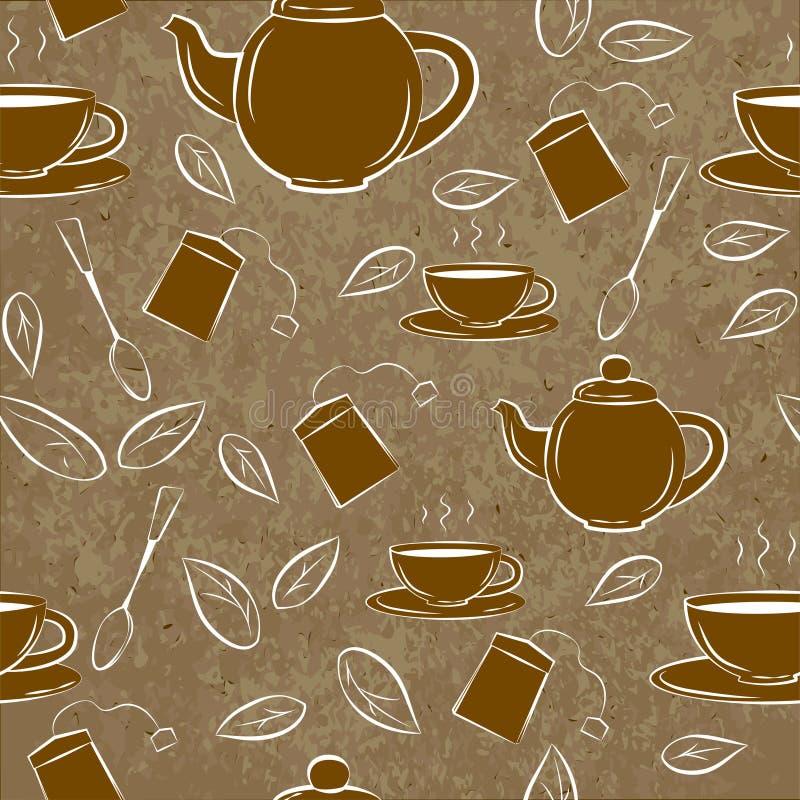 Άνευ ραφής σχέδιο με Teapot και φλυτζάνια σε ένα καφετί υπόβαθρο απεικόνιση αποθεμάτων